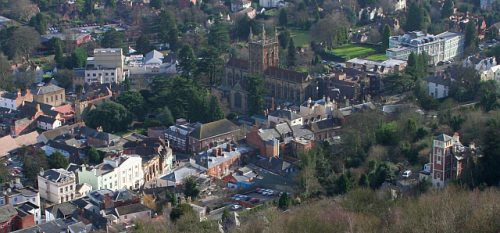 Image of Great Malvern from Above Close to Self Catering